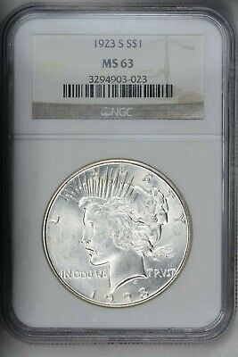 1923-S Peace Silver $1 Dollar NGC MS63 Blast White PQ Gem!