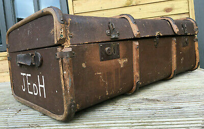 Vintage Bentwood & Canvas Steamer Travel Trunk Storage Chest Blanket Box 20s 30s