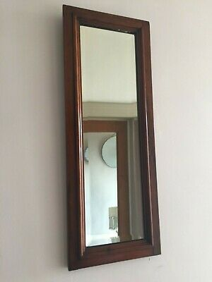 Antique Walnut / Mahogany Hall Mirror Bevelled Long Slim Original Back 60x23cm