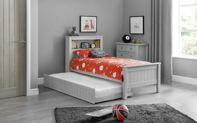 Pluto Modern Grey Solid Pine Guest Bed With Underbed Trundle Kids Childrens
