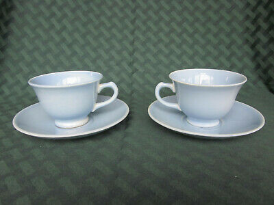 Lu Ray Pastels Pair of Blue Cups and Saucers - Taylor Smith Taylor - MCM