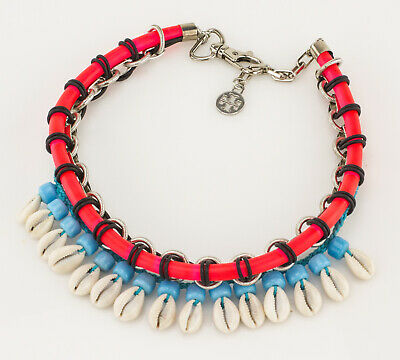 TORY BURCH Pink and Blue Beaded Puka Shell Necklace