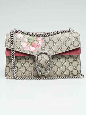 bfeacc52a73 Gucci Beige Pink GG Supreme Blooms Coated Canvas Small Dionysus Shoulder Bag