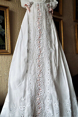 Antique Baby Christening Gown/heavy Embroidery