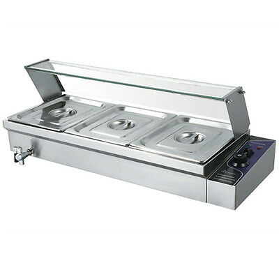 3 Pan Wet Well Bain Marie Stainless Steel 1/2  Pan Catering Commercial Glass Top