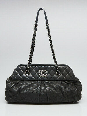 981b792218f8 Chanel Black Quilted Iridescent Calfskin Leather Chic Quilt Bowling Bag