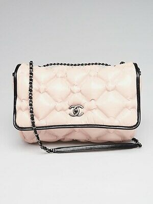 10c1bb799843f0 Chanel Pink/Black Bubble Quilted Leather Chesterfield Large Flap Bag