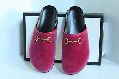 b7a37b0e7a1 New sz 7   37 Gucci Pink Velvet New River Mule Slip on Loafer Flat Shoes