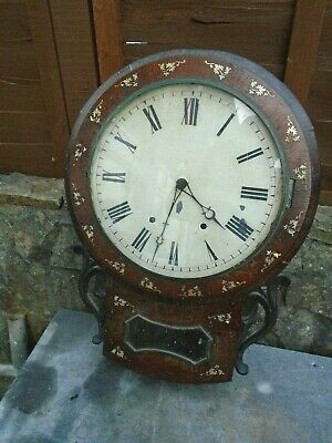 Antique Rosewood With Mother Of Pearl Inlay Wall Clock