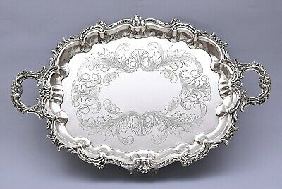 LARGE SOLID SILVER TRAY. HAND ENGRAVED. 1215 grams / 42 ounce. LENGTH 51 cm