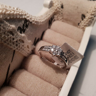 Stunning AAAAA Cr Diamond Trilogy Ring Set In 14k gold over Sterling Silver