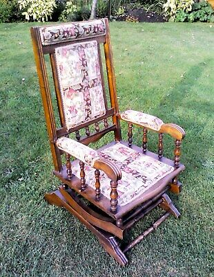 EARLY 1900s ANTIQUE ROCKING CHAIR in WALNUT in jolly nice condition