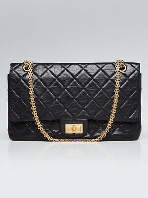 ddbf85ce921 Chanel Black 2.55 Reissue Quilted Classic Calfskin Leather 227 Jumbo Flap  Bag