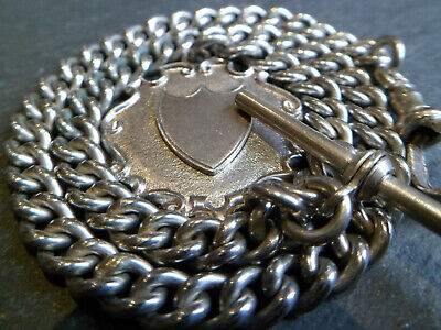 Antique Silver Tone Chunky Albert Pocket Watch Chain + Solid Silver Fob Medal