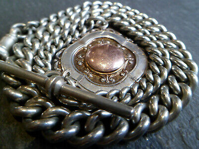 Antique Silver Tone Chunky Albert Pocket Watch Chain + 9ct Gold Silver Fob Medal