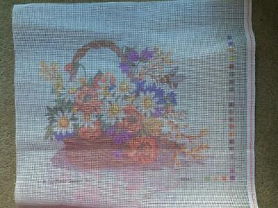 Vintage Tapestry Canvas for Cushion Front Poppies & Daisies Basket