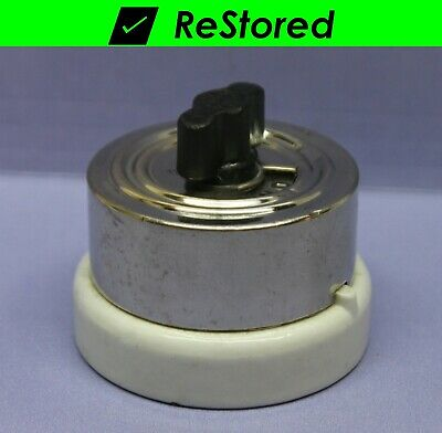 Vintage Rotary Switch, Double-Pole, DPST Chrome/Porcelain Twist Turn 20A - H&H