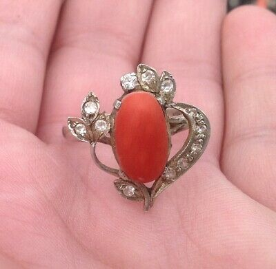 Vintage Genuine Red Coral Sterling Silver 925 Hand Engraved Cut Ring