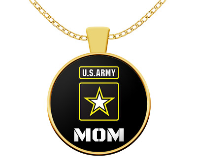 US Army MOM Necklace - Armed Forces Military Family ex Combat Soldier Gift