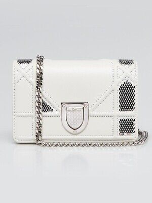 271fb89254 Christian Dior White Cannage Quilted Lambskin Leather and Sequin Baby  Diorama Fl