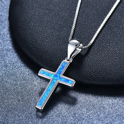 Womens Silver Plated Religious Cross Blue Turquoise Fire Opal Pendant Necklace