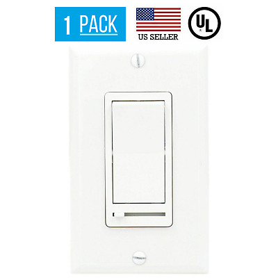 Single Pole 3-Way LED/CFL Light Dimmer W/ Cover Switch & Slide Dimmer White