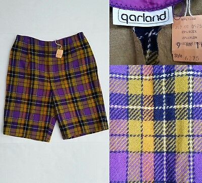 New with Tags Vintage 40/50's GARLAND PLAID SHORTS - Waist 25 inches