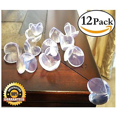 EliteBaby Clear Table Corner Guards, 12 Pack Cushioned Childproofing Toddlers, B