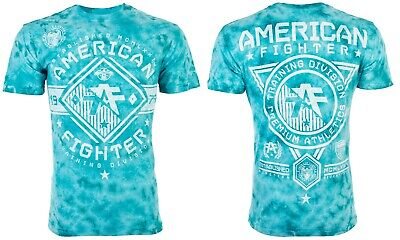 AMERICAN FIGHTER Mens T-Shirt MASSACHUSETTS Athletic WHITE TEAL CRYSTAL WASH $40