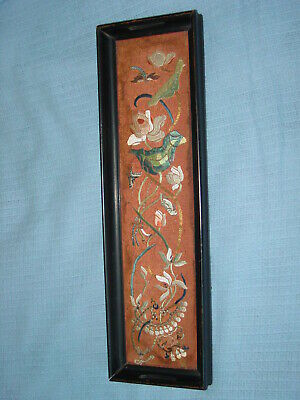 Antique Chinese Embroidery Silk Panel Tray Gold Thread Dragonfly Butterfly