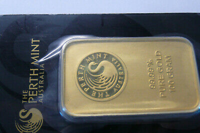 Perth Mint( 3.215 oz..9999) Fine Gold Bar In Assay Perth Mint Australia 100 gram