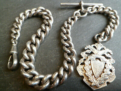 62g Victorian 119 YO Chunky Solid Silver Albert Pocket Watch Chain and Fob Medal
