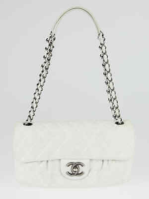 8187f94181a9 CHANEL WHITE QUILTED Iridescent Calfskin Leather Chic Quilt Flap Bag ...