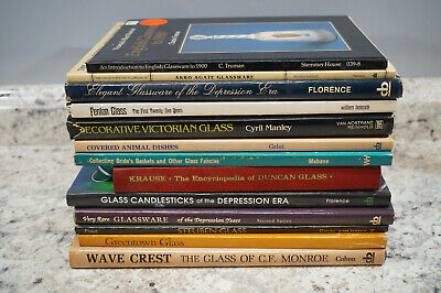 Lot of 13 Antique Glass Books Collector Price Guides Reference