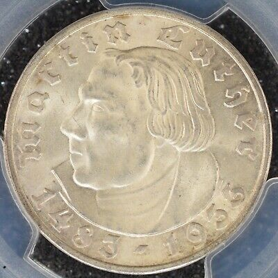 5 Mark 1933-F PCGS MS65 Nazi Germany Third Reich Luther Silver Coin BU UNC