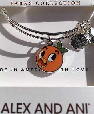 Disney Alex & and Ani Orange Bird Silver Bracelet