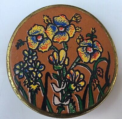 Vintage Leather and Brass Painted Belt Buckle 1970s New Old Stock Hippy Boho