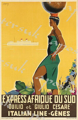 Vintage Italian South Africa Cruise Poster A3/A4 Print