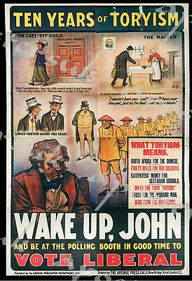 Early Twentieth Century Vote Liberal Election Poster A3/A4 Print
