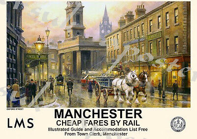 Vintage Style Railway Poster Manchester Horse and Carriage A4/A3/A2 Print