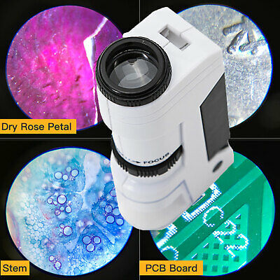 SWIFT 50X Zoom Mini Pocket Microscope Magnifying Loupe Jeweler LED Magnifier New