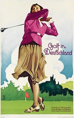 Vintage Golf In Germany Tourism Poster A3 Print