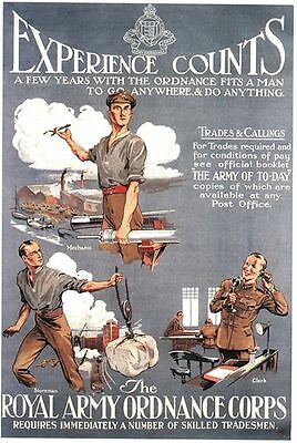 Vintage Royal Army Ordnance Corps Recruitment Poster A3/A2 Print