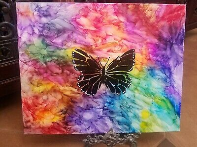Abstract original Alcohol Ink and acrylic painting canvas 20 x 16 Butterfly