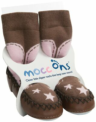 Mocc Ons Moccasin Washable Leather Sole Slipper Socks (18-24 Months, Cowgirl)