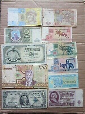 Lot Of 11 World  Banknotes Paper money US $1 DOLLAR Silver Certificate
