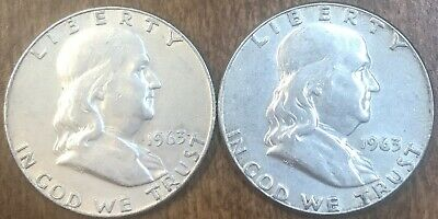 2 Silver Franklin Half Dollars: 1963-D and 1963; Free Shipping in USA!