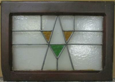 """OLD ENGLISH LEADED STAINED GLASS WINDOW Cool Geometric Design 20.5"""" x 14.5"""""""