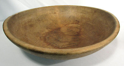 Antique Carved Primitive Large Mid 1800s Wood Butter Bowl