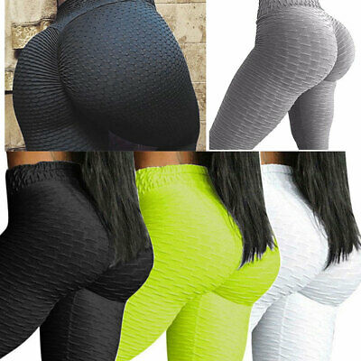 UK Womens Yoga Pants Push Up Anti Cellulite Compression Gym Leggings Elastic HT